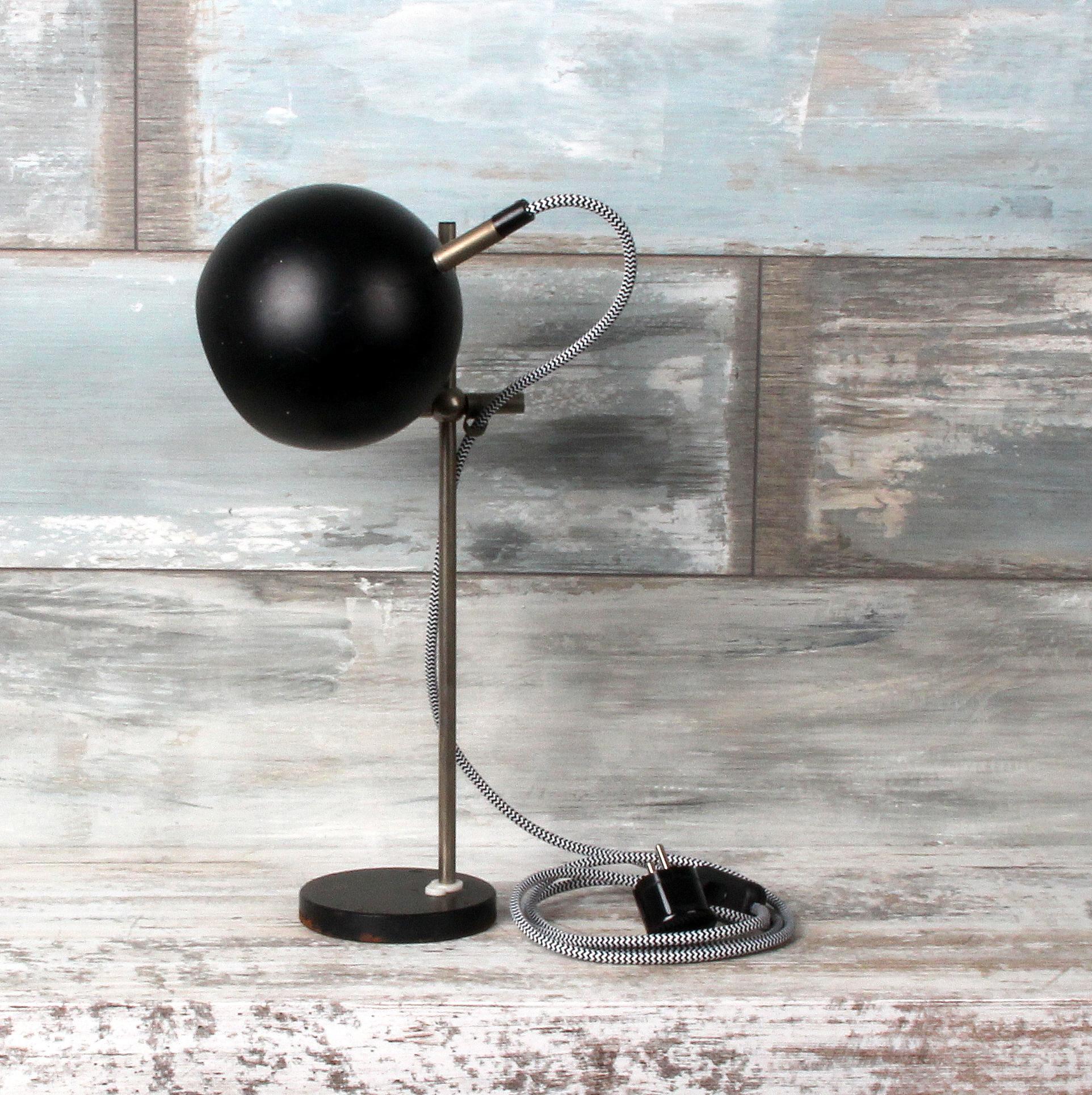 70ger jahre kugel lampe schwarz mit textilkabel zick zack schwarz wei 1 radio k lsch hamburg. Black Bedroom Furniture Sets. Home Design Ideas