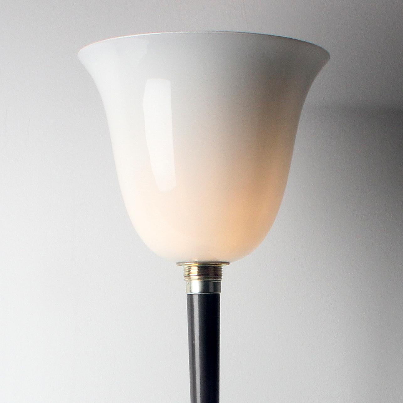 stehlampe mit glas lampenschirm textilkabel schwarz mit fussschalter und stecker 4 radio. Black Bedroom Furniture Sets. Home Design Ideas