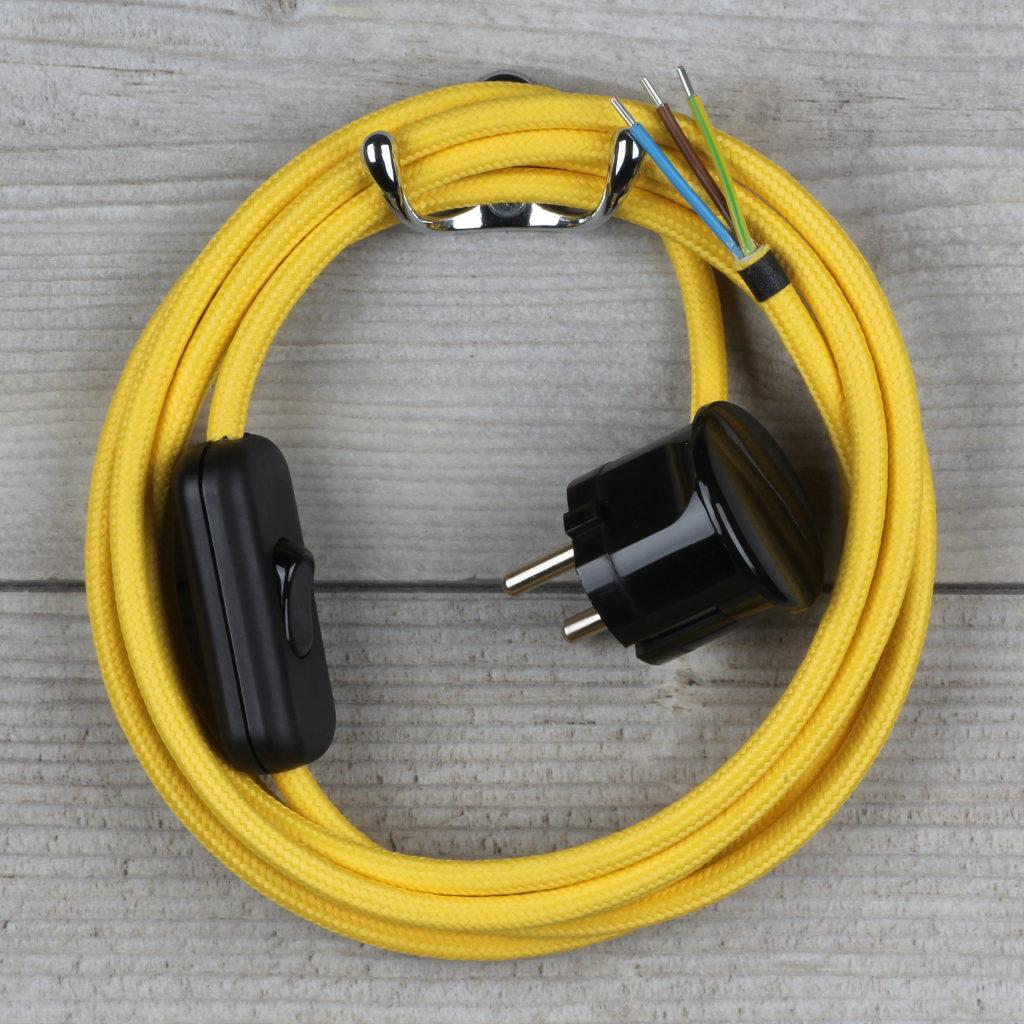 textilkabel anschlussleitung gelb mit schalter und schutzkontakt winkel stecker radio k lsch. Black Bedroom Furniture Sets. Home Design Ideas